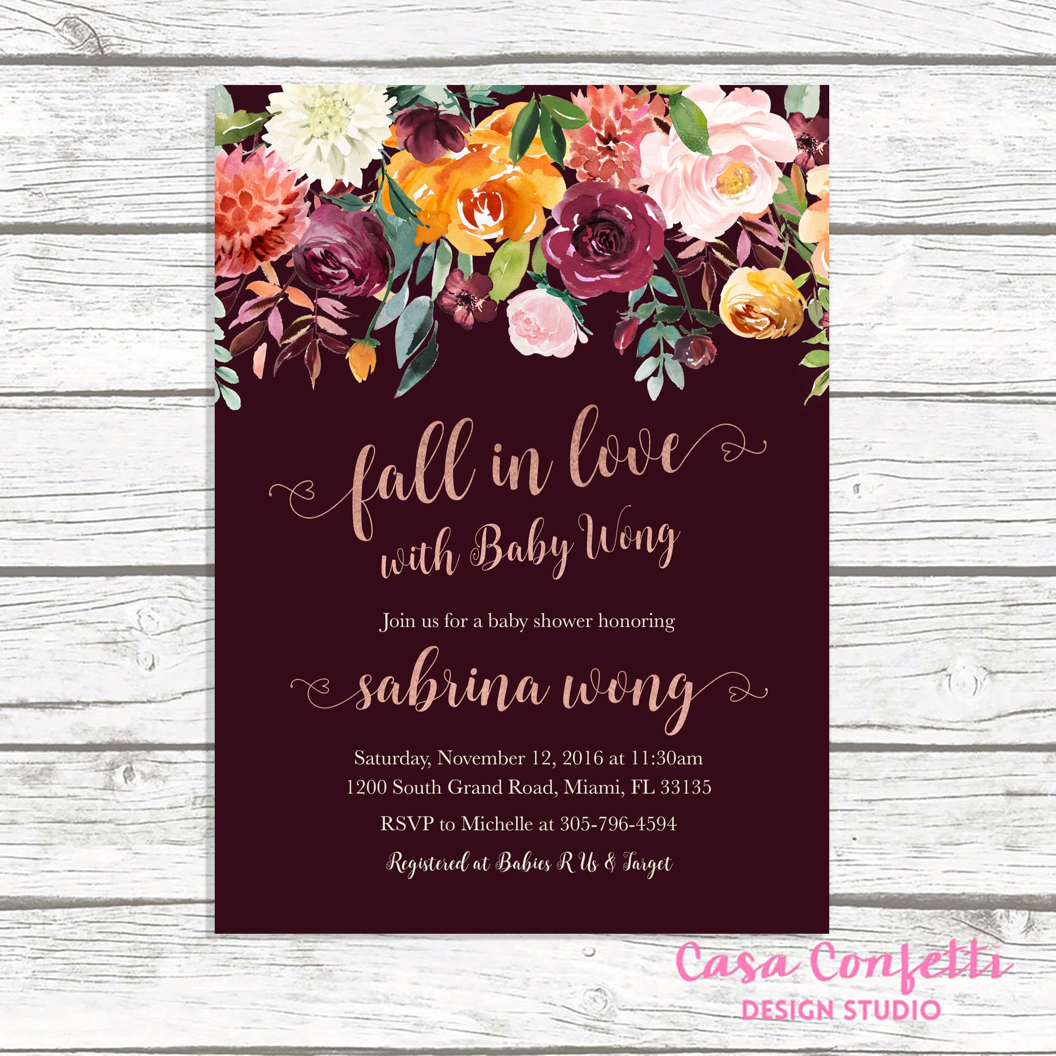 Rustic Fall Baby Shower Invitation Fall in Love Baby Shower