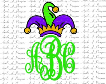 Big Jester Monogram, Mardi Gras, Fat tuesday, SVG, DXF, PDF