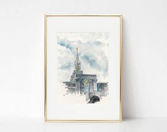 Bountiful Temple,  LDS Temple Art Print, LDS Wedding Gift,  Bountiful Temple Watercolor Painting Print, Utah Temple art