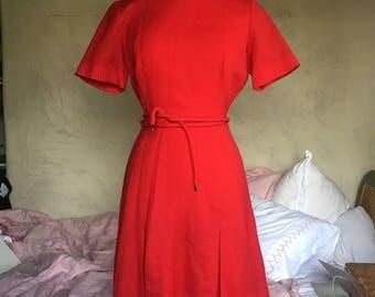 Vintage 1960s Red Wool Mad Men Dress