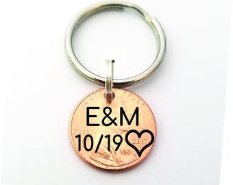 Anniversary Gift - Lucky Penny - Gift for Boyfriend - Custom Penny - Penny Keychain - 1st Anniversary -  Custom Keychain - Personalized