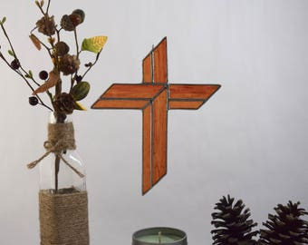 Stained Glass Cross Wall Hanging Christian Gift, Cross Gift, Gift under 30, Glass Gift