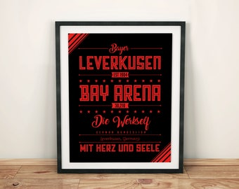 Bayer 04 Leverkusen Poster; Typographic Football Team Print