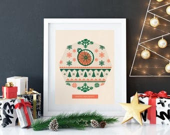Ugly Sweater Print - Home Christmas Decorations - Biking Poster - Christmas Art Prints - Holiday Decorations for the Home - Nursery Decor