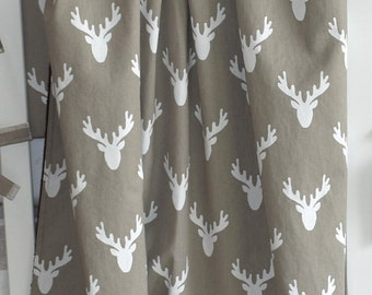 SHIPS TOMORROW - SALE - ecru antlers blanket, minky blanket, woodland, woodland nursery, deer, fawn, doe