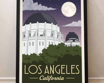LA Vintage Travel Poster, Los Angeles, Travel, Decoration, Griffith observatory, Wall Art, USA