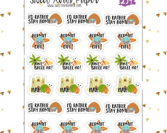 Sarcastic Hermit Crab Planner Stickers   Funny Planner Stickers   Adulting Stickers   Stay Home Stickers   Nope Stickers   234