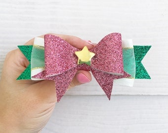 Sailor Jupiter Bow / Makoto Kino Sailor Moon Cosplay Costume / Pink White Green Gold Anime Hair Bow / Soldier Senshi Broach Clip-On Barrette