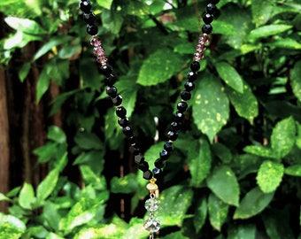 Black Onyx Mala Bead Purple Druzy Long Necklace Arrowhead Pendant Faceted Gemstone Gold