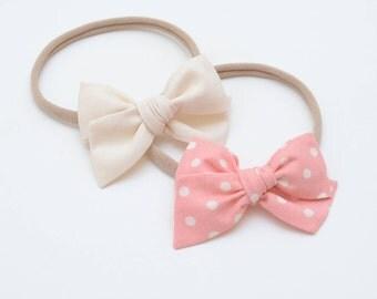 hand tied wide schoolgirl bow headband or alligator clip