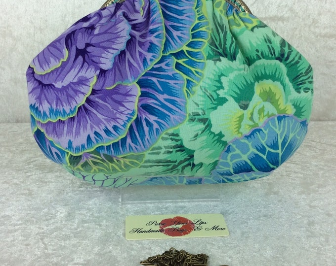 Alice Brassica Cabbage frame bag Kaffe Fassett design fabric small Frame handbag purse makeup bag handmade in England