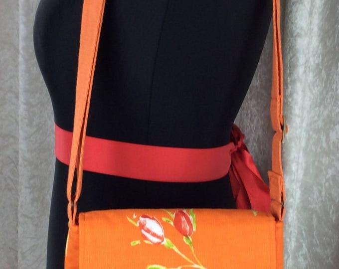 Roses Jane fabric Cross body shoulder bag purse handbag handmade in England