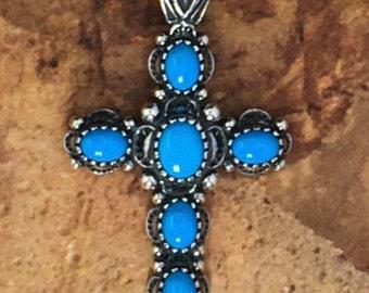 Sleeping Beauty Turquoise Sterling Cross