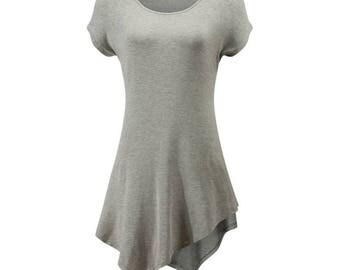 Short Sleeve Scoop Tunic Top Shirt - Black - Grey - Burgundy