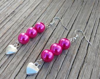 Pretty Hot Pink Glass Pearl and Silver Love Heart Dangle Drop Earrings on Earring Hook Wire