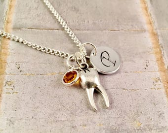 Tooth necklace, charm necklace, dental hygienist gift, Dentist gift, Tooth Fairy Necklace, Tooth Jewelry, tooth charm necklace