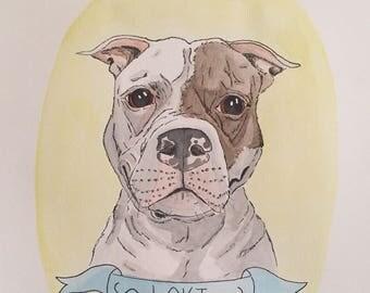 Custom pet portrait, pet portrait illustration, watercolor pet portrait, ink and watercolor pet portrait, dog portrait, pet gifts,