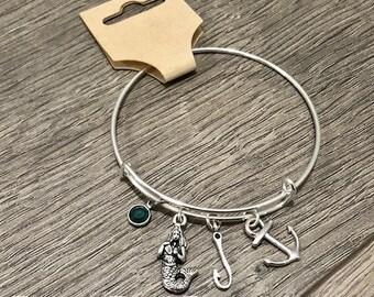 Nautical charm bracelet / Birth stone bracelet / Anchor bracelet / Fish hook jewelry / Mermaid / Beach bangle / Beach gift / Beach jewelry