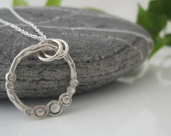 Handmade Dimples Necklace | Fine Silver Necklace | Ring Necklace with Dimples | Silver Dimples Pendant | Open Ring Pendant