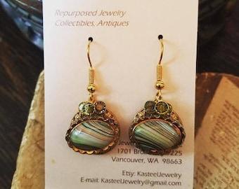 Mid-century glass button earrrings