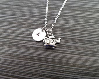 Silver Teapot Necklace - Tea Pot Charm Necklace - Personalized Necklace - Custom Gift - Initial Necklace - Teapot Gift - Geeky Gift
