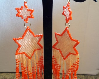 Indian style earrings with handmade stars