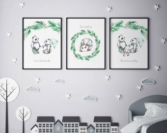 Panda family   set of 3 instant download prints