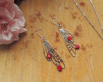 Dragonfly Wing Earrings, Coral, Red, origami, fairy, silver, geometric, animal, love, romantic