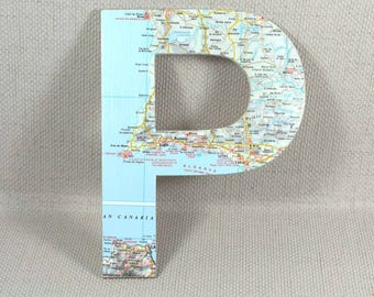 Wanderlust Wall Letters, using Map of your choice! Variety of sizes: 10, 15 & 20cm height. Mother's Day Gift