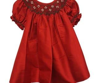 Red Silk Christmas Smocked Bishop Size 6M