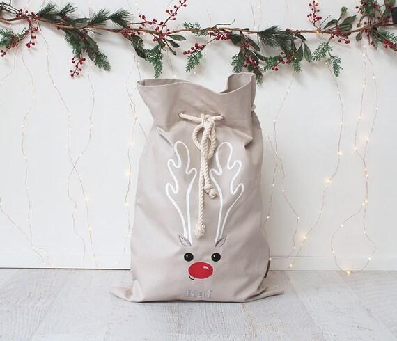 Personalised Santa Sack Stone - Reindeer face