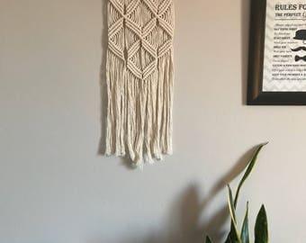 Macrame Wall Hanging. Nursery decor. Diamond pattern. Bohemian modern decor.