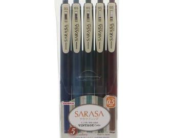 5 Colors Set Zebra Vintage Limited Edition with Case 0.5 Gel Ink