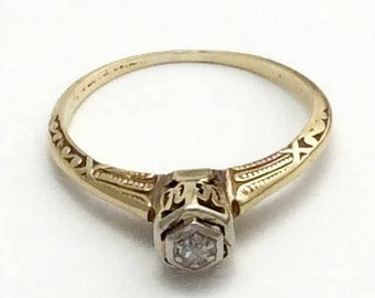 Vintage Uniquely Etched 14k Yellow Gold Diamond Ring