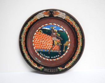 Embossed Mexican Plate. Mexican Platter. Cultura Maya. Mayan. Vintage Mexican