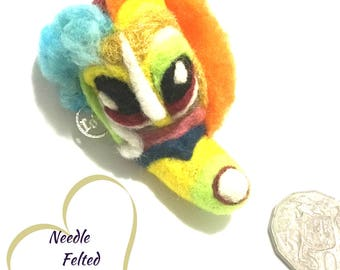 Fantasy Felt Brooch, Needle Felted Brooch, Designer Brooch, Dragon Girl Brooch,Versatile Pendant or Fridge Magnet,One- of- a-Kind Creation