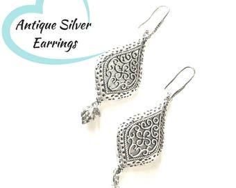 Scrolled Silver Lotus Earrings, Antique Silver Drop Earrings, Gift for Her, On Trend Earrings, Scrolled Teardrop Earring Gift
