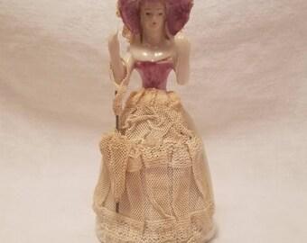 WOMAN PORCELAIN FIGURINE Lace Victorian Lady Parasol Japan Vintage Antique