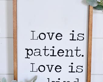 Love Is Patient | Wood Sign | Home Decor | Love Never Fails | Framed | Farmhouse | Rustic | Love Is Kind | Wood | Typewriter | Print