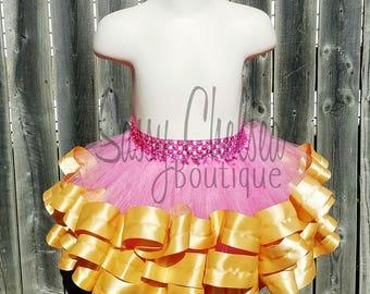 Pink And Gold Ribbon Tutu. Pink Tutu With Gold Satin Ribbon. Pink and Gold Tutu. Pink and Gold Birthday Tutu.