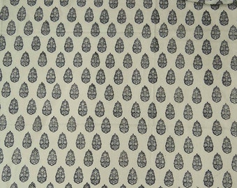 """Indian Floral Hand Block Print, Off White Fabric, Sewing Material, Quilt Fabric, 45"""" Inch Cotton Fabric By The Yard ZBC8181A"""