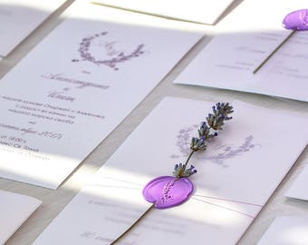 10 Handmade Lavender Wedding Invitations, Lavender Wedding, Purple Wreath Wedding Invitation, Floral Lavender Wedding Invitation