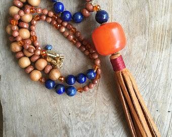 Blue and Orange Leather Fringe Tassel Long Necklace