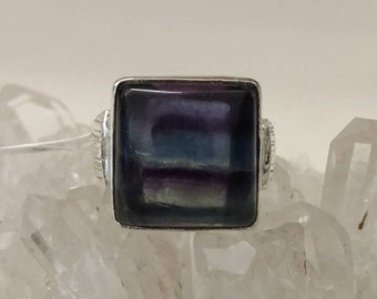 Square Fluorite Ring Size 6