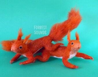 Red Squirrel wall hanging needle felt fibre art home decoration OOAK