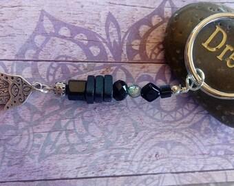 Silver and Black Hamsa Hand Key Chain