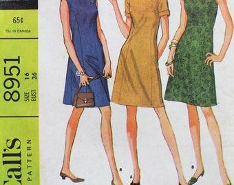 1960s Dress Pattern - Uncut Vintage McCall's 8951 Sewing Pattern - Bust 36