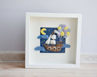 Crochet PATTERN No 1717- Picture frame - Balloon ship - pattern by Krawka, fantasy, fairy tales, nursery,  wall decor