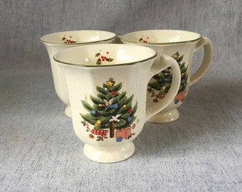 Mikasa Happy Holidays Coffee Mugs, Set of 3, Christmas Tree Mugs