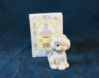 """Vintage Precious Moments Puppy Figurine, """"I Haven't Seen Much of You Lately"""" Birthday Series"""